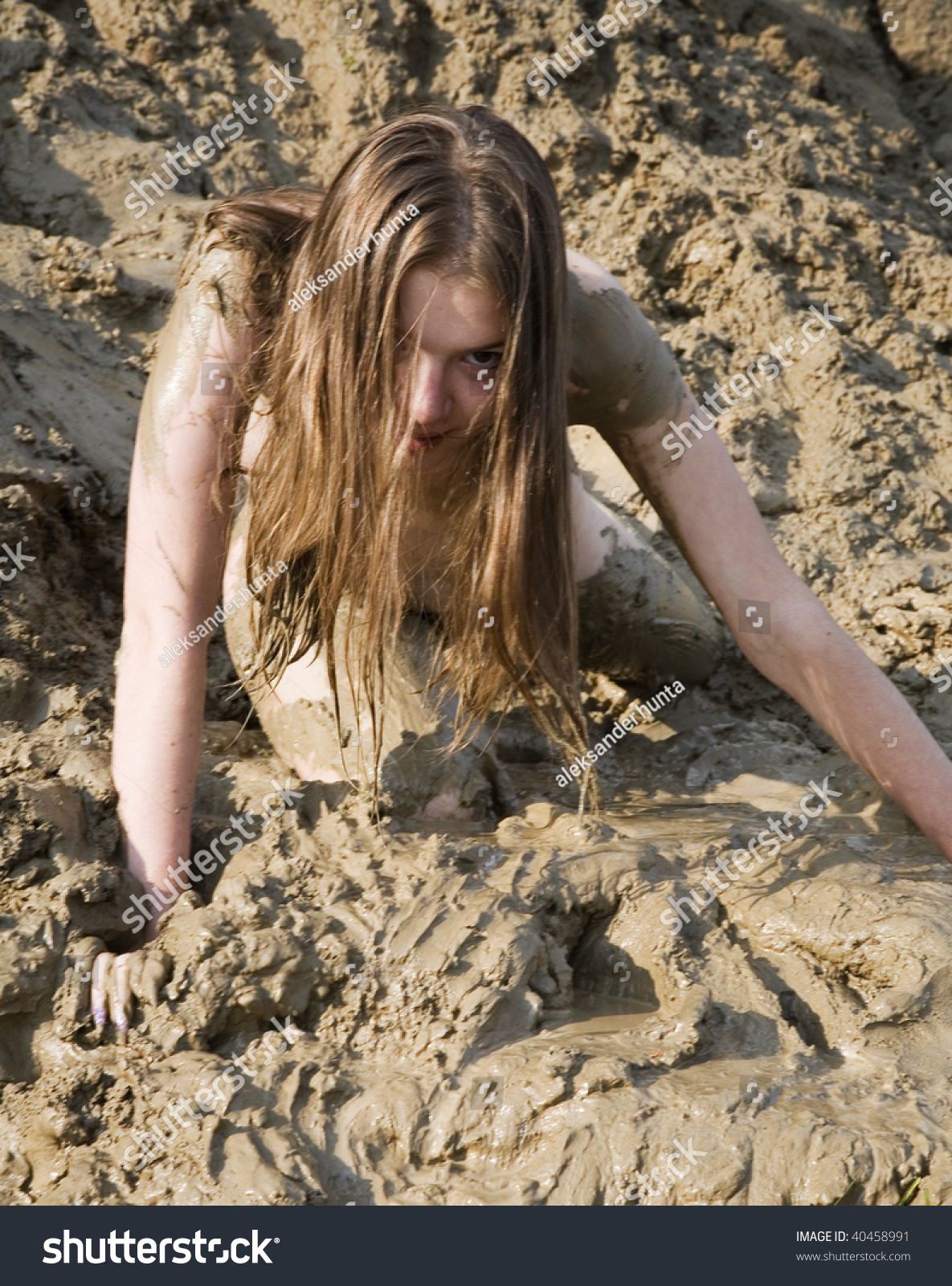 mud bath naked Girl