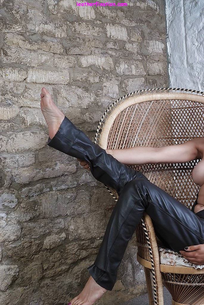 pants leather Topless woman