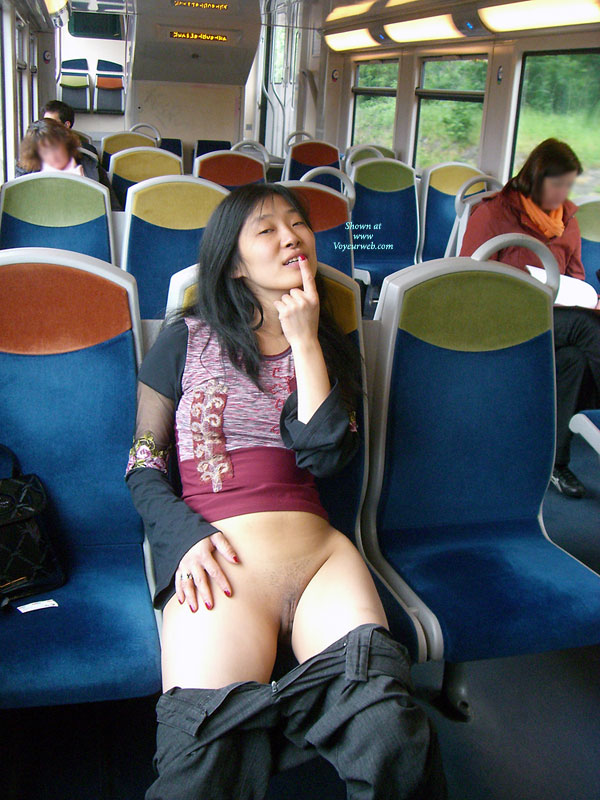 Girl on train bottomless