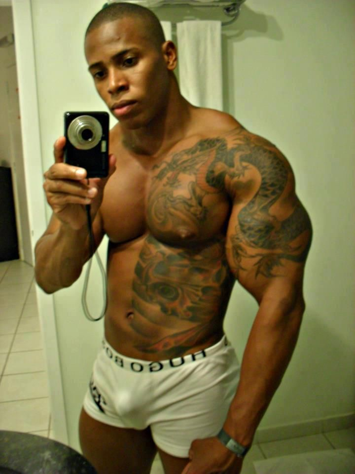 tattoos muscles Black and with men