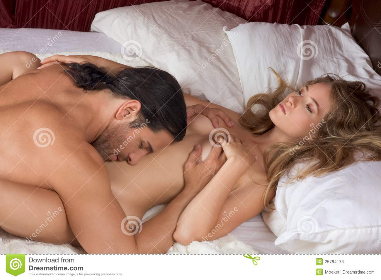 couple romance bed naked