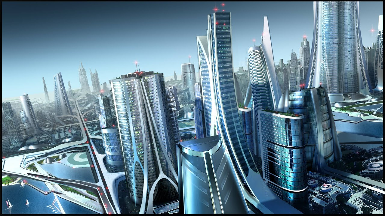 futuristic city Anime