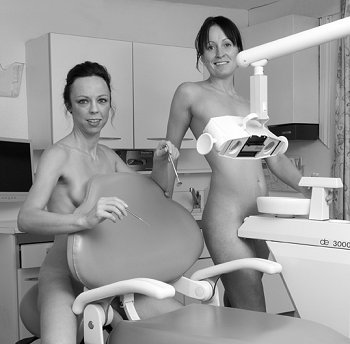 female Nude dentist