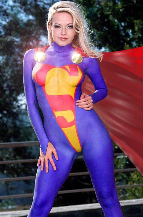paint Kaley cuoco superman body